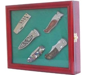 Pocket Knife Display Case shadow box, with glass door, Cherry Finish (KC02-CH)